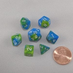 Dice Gemini Mini Aquamarine Polyhedral Dice Set