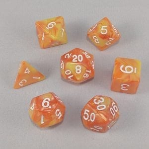 Dice Gemini Orange/Yellow with White Numbers Dice