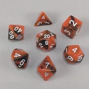 Dice Gemini Orange/Black with White Numbers Dice