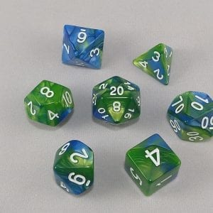 Dice Gemini Green/Blue with White Numbers Dice
