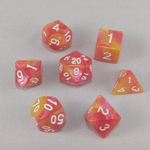 Dice Gemini Yellow/Pink with White Numbers Dice