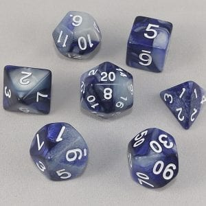 Dice Gemini Blue/White with White Numbers Dice