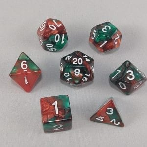 Dice Gemini Red/Green with White Numbers Dice