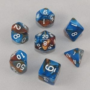 Dice Gemini Blue/Brown with Gold Numbers Dice