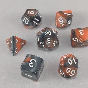 Dice Gemini Black/Orange with White Numbers Dice