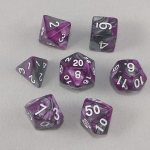 Dice Gemini Purple/Black with White Numbers Dice