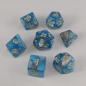 Dice Gemini Aqua/Blue with Gold Numbers Dice