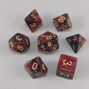 Dice Gemini Dark Red/Black with Gold Numbers Dice
