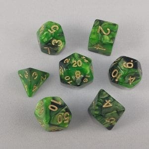 Dice Gemini Green/Black with Gold Numbers Dice