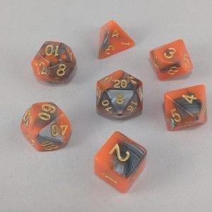 Dice Gemini Orange/Black with Gold Numbers Dice