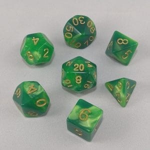 Dice Gemini Lime/Green with Gold Numbers Dice