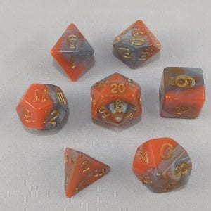 Dice Gemini Orange/Gray with Gold Numbers Dice