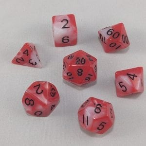 Dice Gemini Red/White with Black Numbers Dice