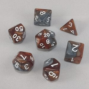 Dice Gemini Brown/Gray with White Numbers Dice