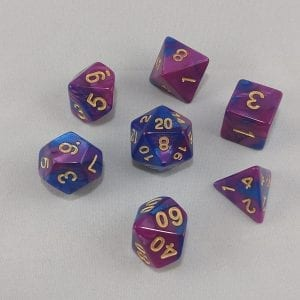 Dice Gemini Purple/Blue with Gold Numbers Dice