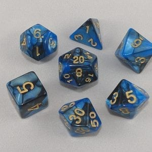 Dice Gemini Blue/Black with Gold Numbers Dice