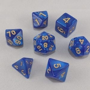Dice Marbled Blue with Gold Numbers Dice