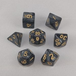 Dice Marbled Black with Gold Numbers Dice