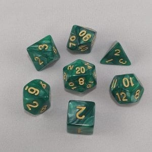 Dice Marbled Green with Gold Numbers Dice