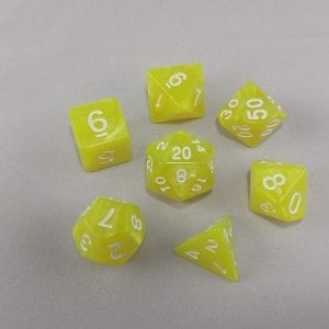 Dice Marbled Yellow with White Numbers Dice