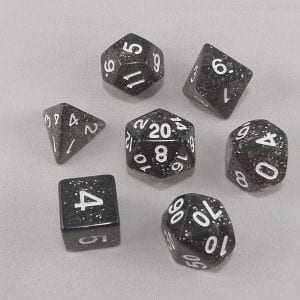 Dice Glitter Black Polyhedral Dice Set