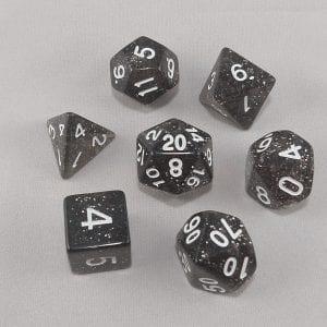 Dice Glitter Black Polyhedral Dice Set