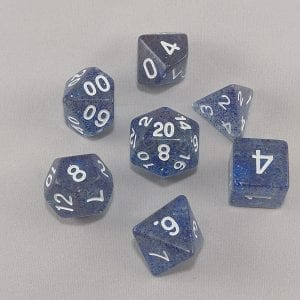 Dice Glitter Dark Blue Polyhedral Dice Set