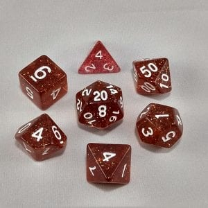 Dice Glitter Dark Red Polyhedral Dice Set