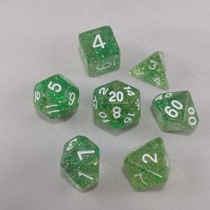 Dice Glitter Green Polyhedral Dice Set
