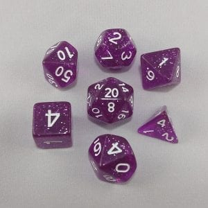 Dice Glitter Purple Polyhedral Dice Set