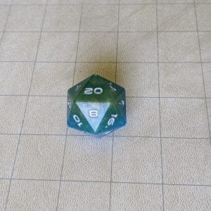 Jumbo Dice Blue/Green Jumbo Edged D20