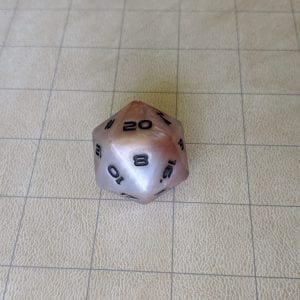 Jumbo Dice White/Orange Jumbo Edged D20