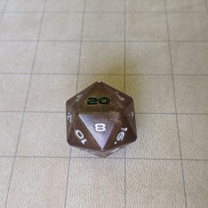 Jumbo Dice Sparkled Rust Jumbo Edged D20