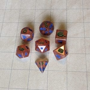 Handmade Dice Copper Cloud Edged Dice Set