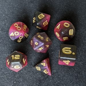 Handmade Dice Red/Black Edged Polyhedral Dice Set