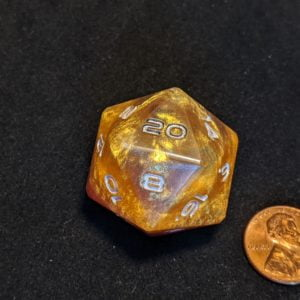 Jumbo Dice Purple and Golden Jumbo Edged D20