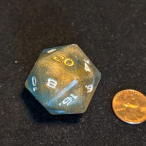 Jumbo Dice Gold Holographic and Shimmering Blue Jumbo Edged D20