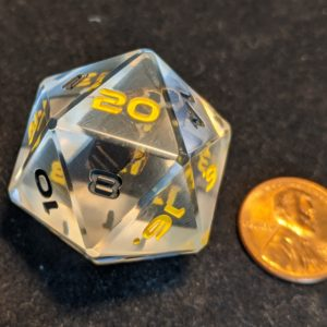 Handmade Dice Real Bee Edged Jumbo D20